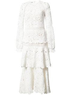 платье с кружевом Oscar de la Renta