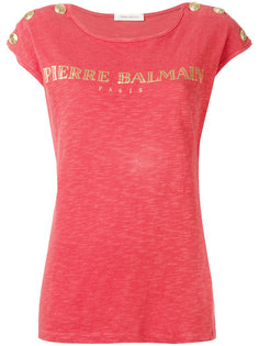 футболка с принтом-логотипом и заклепками Pierre Balmain