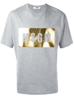 футболка с принтом-логотипом металлик  MSGM