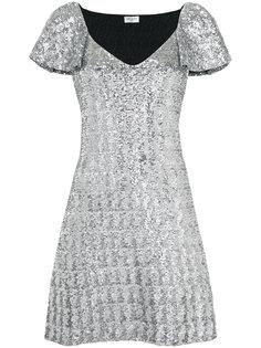 короткое платье с пайетками Saint Laurent
