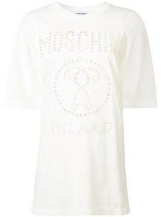 футболка с перфорацией логотипа Moschino