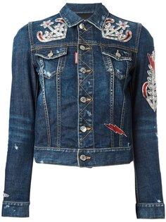 джинсовая куртка с нашивками-якорями Dsquared2