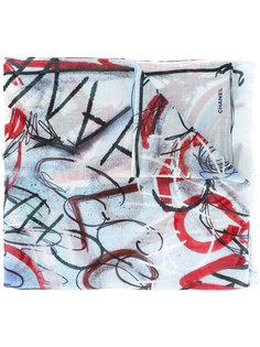 шарф с принтом граффити Chanel Vintage