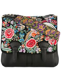 сумка-сэтчел  с цветочной вышивкой Roberto Cavalli