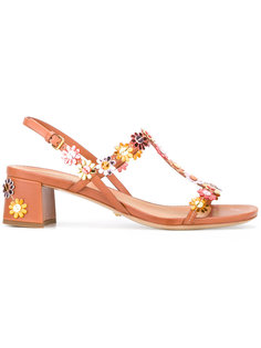 floral applique sandals Car Shoe
