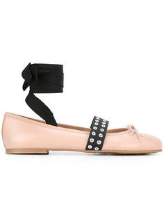 балетки с контрастными ремешками Pretty Ballerinas