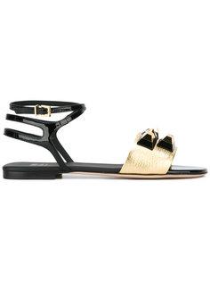 декорирвоанные сандалии Stud Fendi