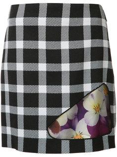 клетчатая юбка с цветочным принтом Christopher Kane