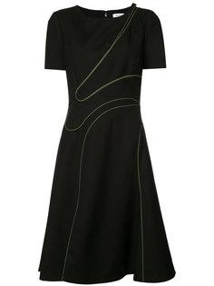 расклешенное платье с вырезной деталью Mugler