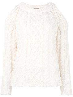 cable knit cut-out jumper Nude