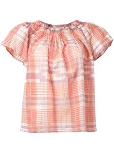 off-shoulder plaid blouse Ulla Johnson
