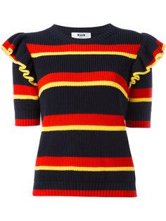 свитер в полоску с оборками на рукавах MSGM