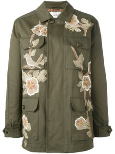пальто в стиле милитари с цветочной деталью Valentino
