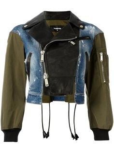 куртка-бомбер из трех материалов Dsquared2