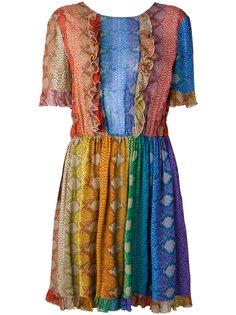 плиссированное платье с рюшами Just Cavalli
