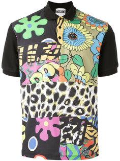 футболка-поло с контрастными панелями Moschino