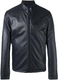 кожаная куртка на молнии Giorgio Armani