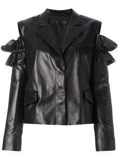 кожаная куртка с разрезами на плечах Drome