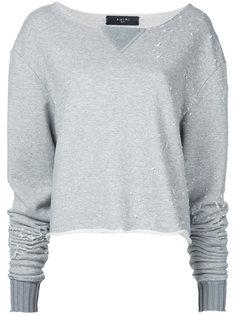 destroyed cropped sweatshirt Amiri
