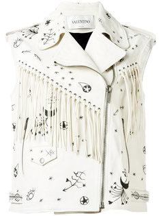 байкерская куртка с бахромой без рукавов Valentino
