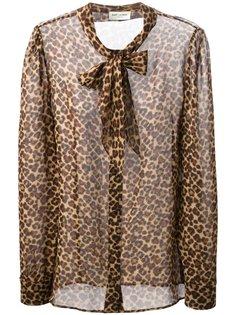 блузка в леопардовый принт  Saint Laurent