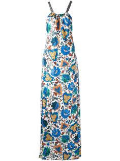 длинное платье с цветочным принтом Oscar de la Renta