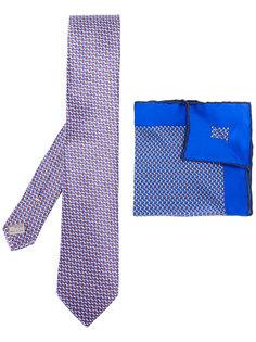 комплект из нагрудного платка и галстук с мелким узором Canali