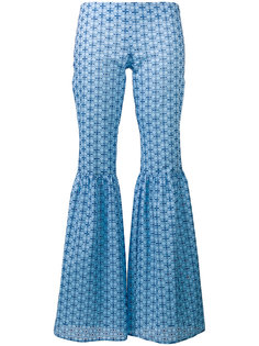 fitted patterned flare trousers Daizy Shely