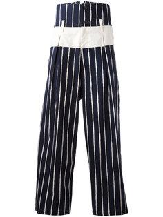 укороченные брюки в полоску Yohji Yamamoto