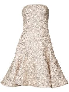 расклешенное платье без бретелек Oscar de la Renta