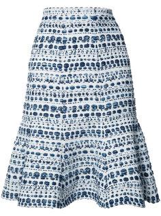 юбка А-образного кроя в полоску Oscar de la Renta