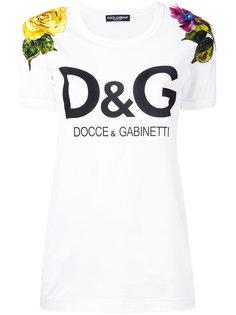 футболка с логотипом и цветочной вышивкой Dolce & Gabbana