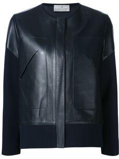 кожаная куртка с трикотажными рукавами Maison Ullens