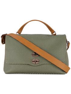 patterned shoulder bag with contrast handles and shoulder strap Zanellato