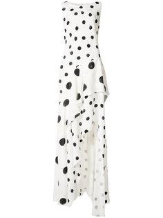 асимметричное платье в горох Oscar de la Renta