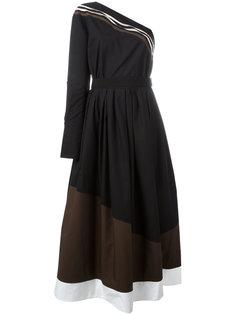 асимметричное расклешенное платье Fendi