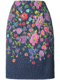 юбка-карандаш с цветочным принтом Oscar de la Renta