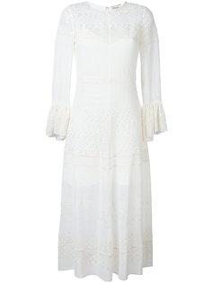 длинное платье с английской вышивкой Saint Laurent