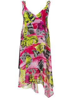 драпированное платье с цветочным принтом Versace Collection