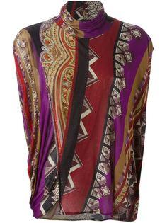 свитер с высоким воротником и комбинированным принтом  Etro