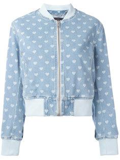 джинсовая куртка-бомбер  с принтом сердец Diesel