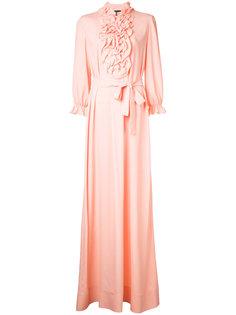 длинное платье с отделкой оборками Boutique Moschino
