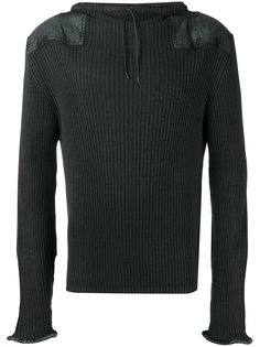 leather patch ribbed sweatshirt Maison Margiela