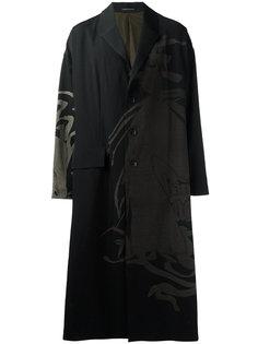 однобортное пальто с принтом Yohji Yamamoto