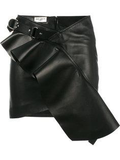 асимметричная юбка с оборкой Saint Laurent