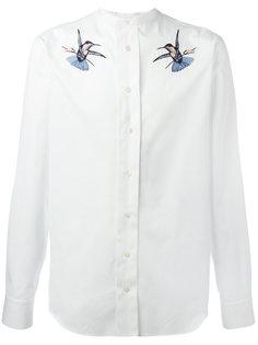 рубашка с вышивкой птиц Alexander McQueen