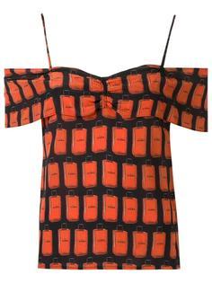 off shoulder printed blouse Amir Slama