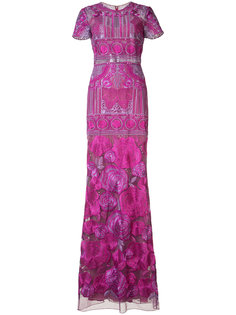 вечернее платье с цветочным принтом Marchesa Notte