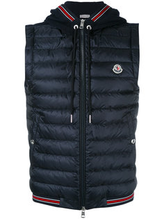 striped trim hooded waistcoat Moncler