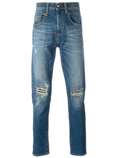 зауженные джинсы с рваной отделкой R13